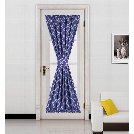 "ELLA NAVY -WHITE 2 Tone Color 1pc French Door 55""W x 72""L Foam Backing Insulated Thermal Blackout Rod Pocket Curtain Panel with matching 1 Tieback"