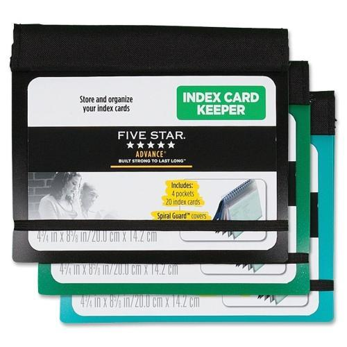 Mead Index Card Keeper, w/ 20 Cards, 3''x5'', 4-Subject, Assorted (Set of 3)