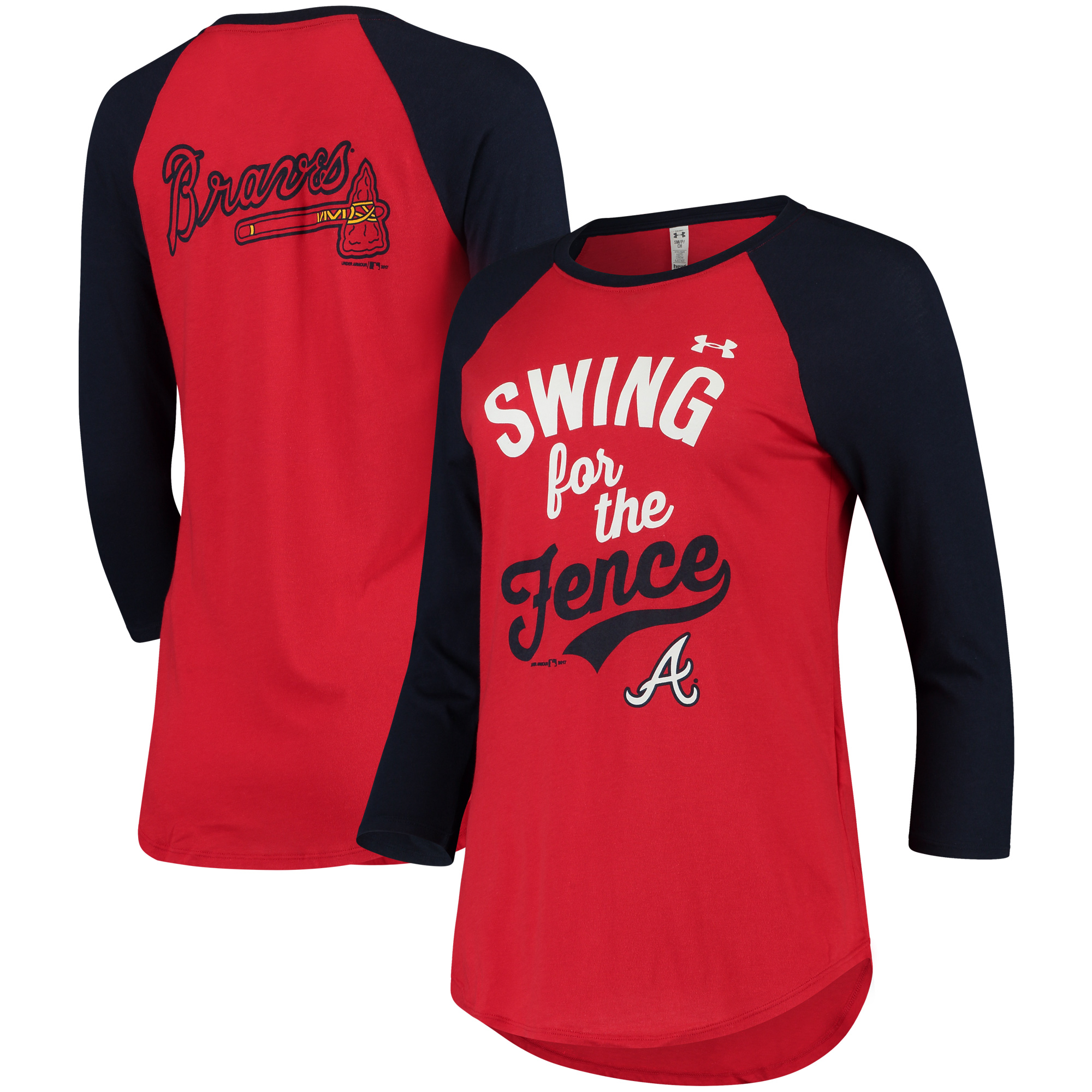 Atlanta Braves Under Armour Women's Baseball 3/4-Sleeve Performance T-Shirt - Red/Navy