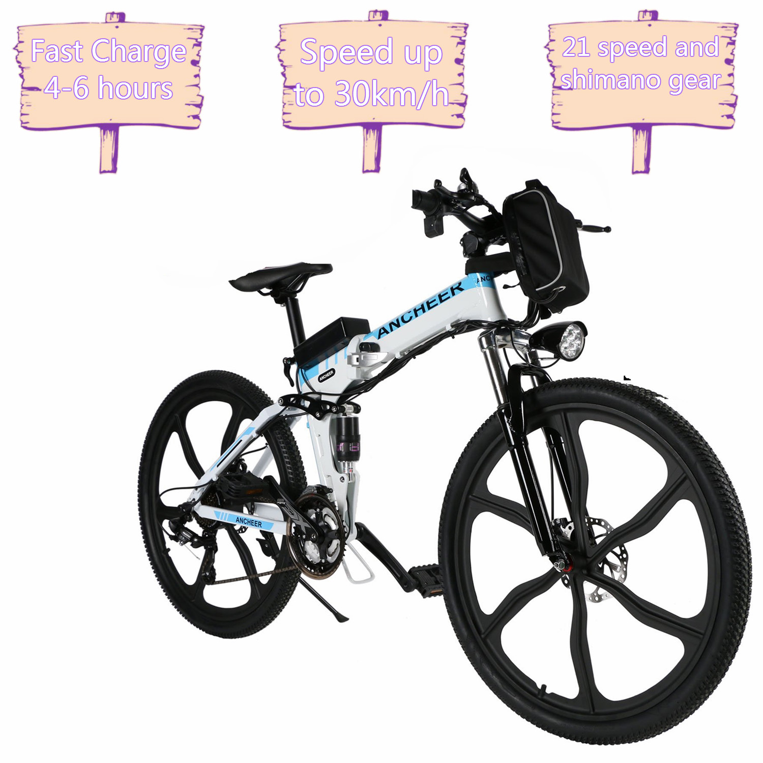 """Holiday Clearance ANCHEER 26"""" 27 Speed Foldable Mountain Bike Folding Electric Power Mountain Bicycle with Lithium-Ion Battery"""