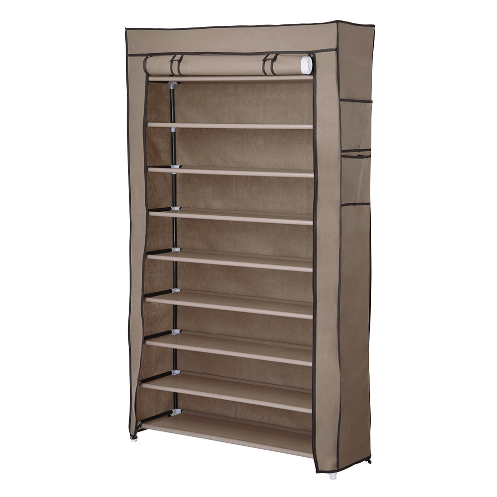 "Yescom 10 Tier Shoe Rack Shelf Closet with Cover 5/8"" Metal Tube Non-woven Fabric Storage Shoe Organizer"