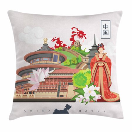 Ancient China Throw Pillow Cushion Cover, Vintage Style Chinese Attributes of Phoenix Dress Lotus Flower Dragon Palace, Decorative Square Accent Pillow Case, 18 X 18 Inches, Multicolor, by