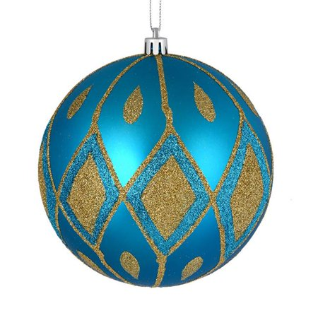 Vickerman N188212D 6 in. Turquoise Matte Ball Ornament with Glitter Diamond Pattern  3 per Bag ()