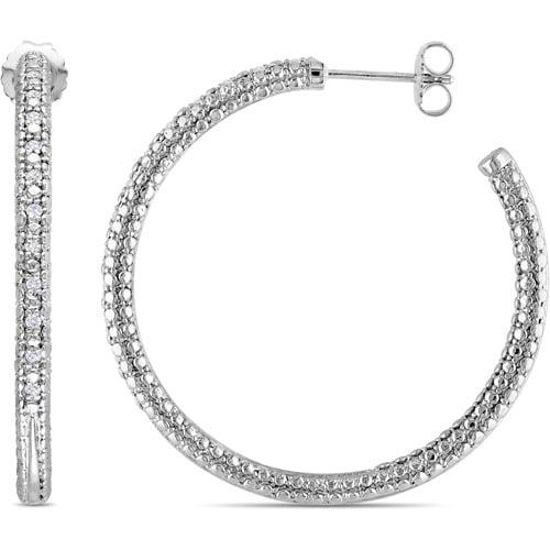 Miabella 1/4 CT TDW Diamond Hoop Earrings in Sterling Silver
