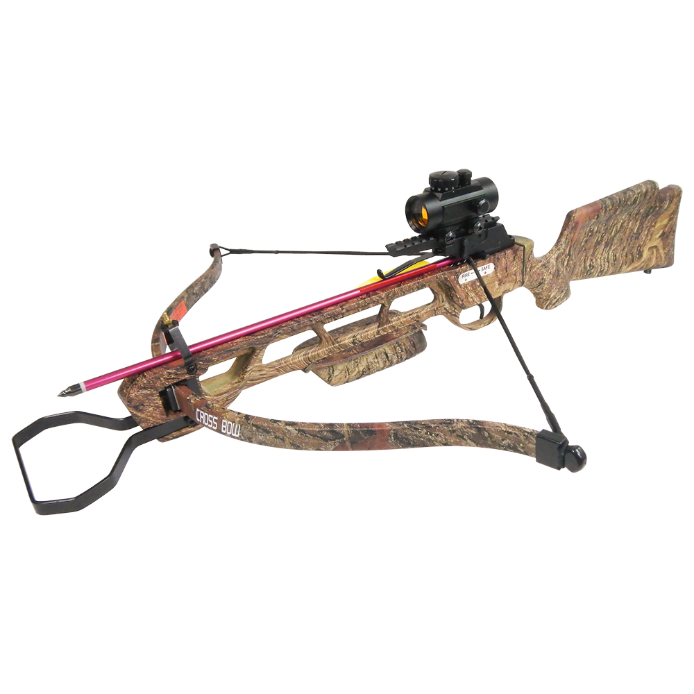 160 lb Black   Camouflage Hunting Crossbow Archery Bow +Red Dot Scope +4 Arrow +Quiver... by