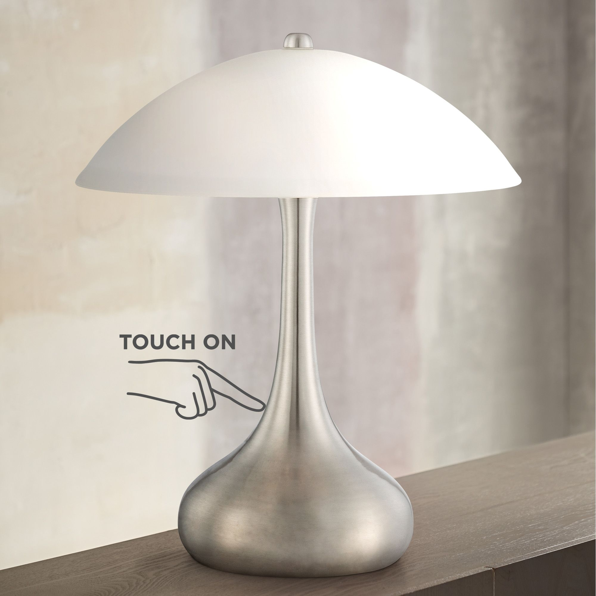 360 Lighting Modern Accent Table Lamp 16 High Brushed Steel Droplet White Glass Shade Touch On Off For Bedroom Bedside Nightstand Walmart Com Walmart Com