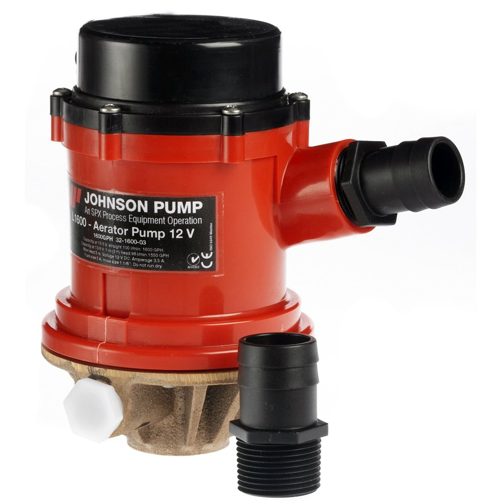 Johnson 166004B PRO Series 1600 GPH Livewell/Baitwell Aerating Pump, 12V