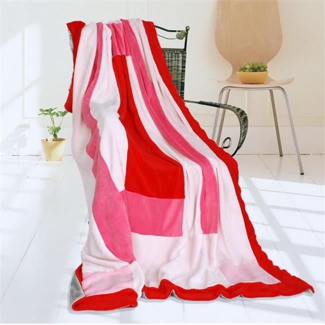 ONITIVA-BLK-053 Onitiva - Rosy Clouds Soft Coral Fleece Patchwork Throw Blanket