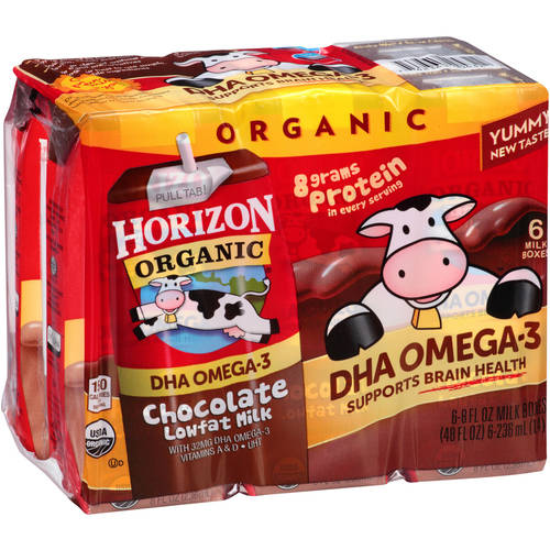 (3 Pack) Horizon Organic DHA Chocolate Lowfat Milk, 8 fl oz, 6 count