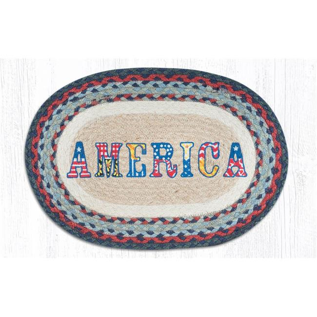 Capitol Importing 48-015A 13 x 19 in. Jute Oval America Placemat