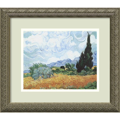 Yellow Wheat and Cypresses, c. 1889 Framed Wall Art by Vincent van Gogh - 16.12W x 14.12H in.