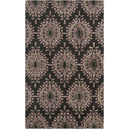 Dusky Orchid (3.25' x 5.25' Floral Kalos Espresso Brown and Dusty Orchid Wool Area Throw Rug)