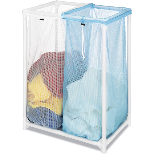 Whitmor Double PVC Laundry Sorter, White
