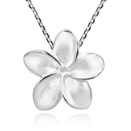 Tropical Satin Shine Hawaiian Plumeria Flower Sterling Silver Pendant -