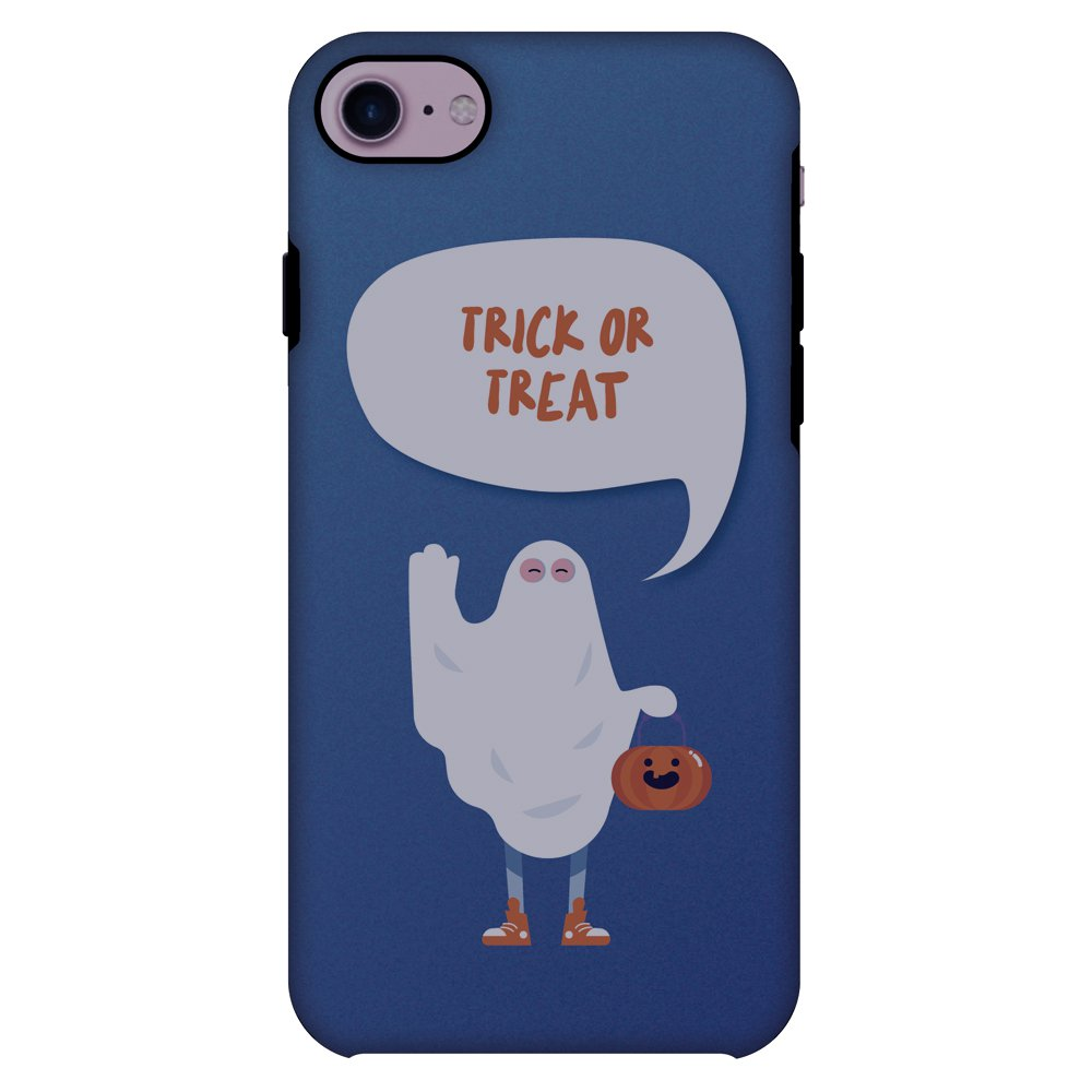 iPhone 8 Case, Premium 2 in 1 Slim Fit Handcrafted Printed Halloween Designer ShockProof Heavy Duty Protection Case Back Cover for iPhone 8 - Trick Or Treat, White Ghost
