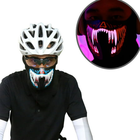 Coastacloud LED Voice Control Cool Mask Festival Flash Party Cosplay Supplies Wire Glowing Cold Light Mask for Night Riding - Blue - Mask For Party