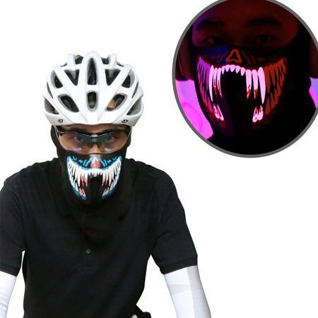 Coastacloud LED Voice Control Cool Mask Festival Flash Party Cosplay Supplies Wire Glowing Cold Light Mask for Night Riding - Blue - Flash Mask
