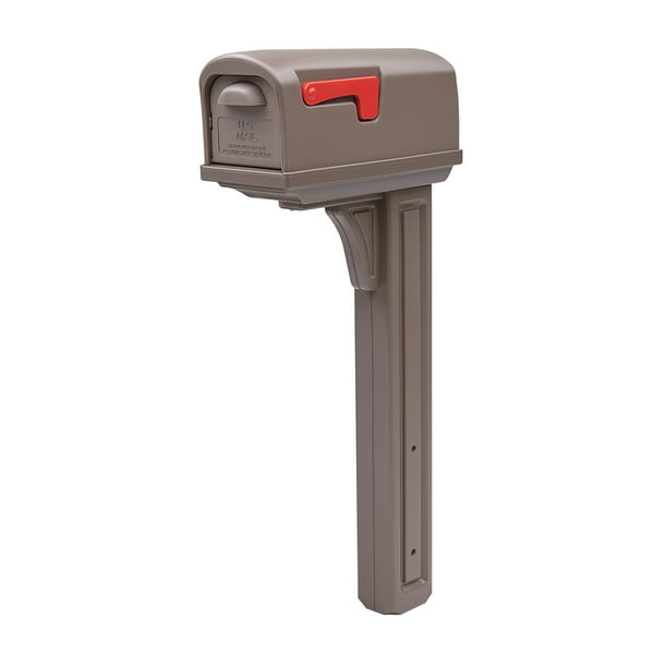 Gibraltar Mailboxes Classic All-in-One, Medium, Plastic, Mailbox & Post Combo, Mocha, GCL10000M