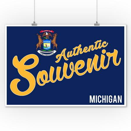 Visited Michigan - Authentic Souvenir - Lantern Press Artwork (9x12 Art Print, Wall Decor Travel Poster) ()