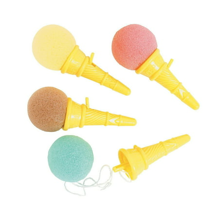 Mini Ice Cream Shooters - Pack Of 12 - 3.5 Inches Assorted Colors Balls, Brown, Pink And Blue, Yellow Cones – For Kids, Boys And Girls, Great Party Favors, Toy, Fun, Gift, Prize – By Kidsco