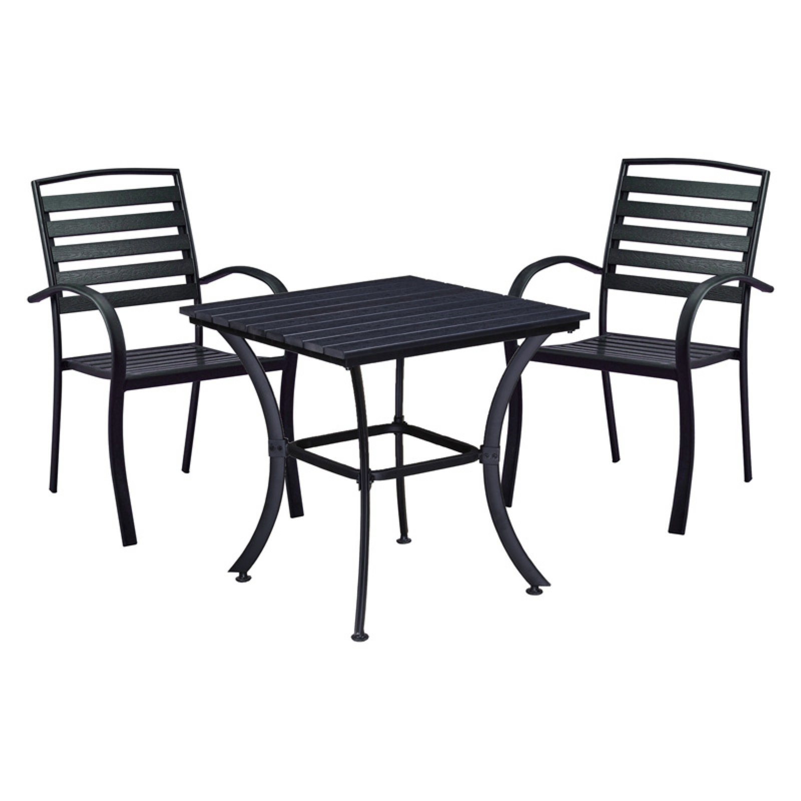 Oakland Living Modern Slat Back Stackable Indoor/Outdoor Square Bistro Set