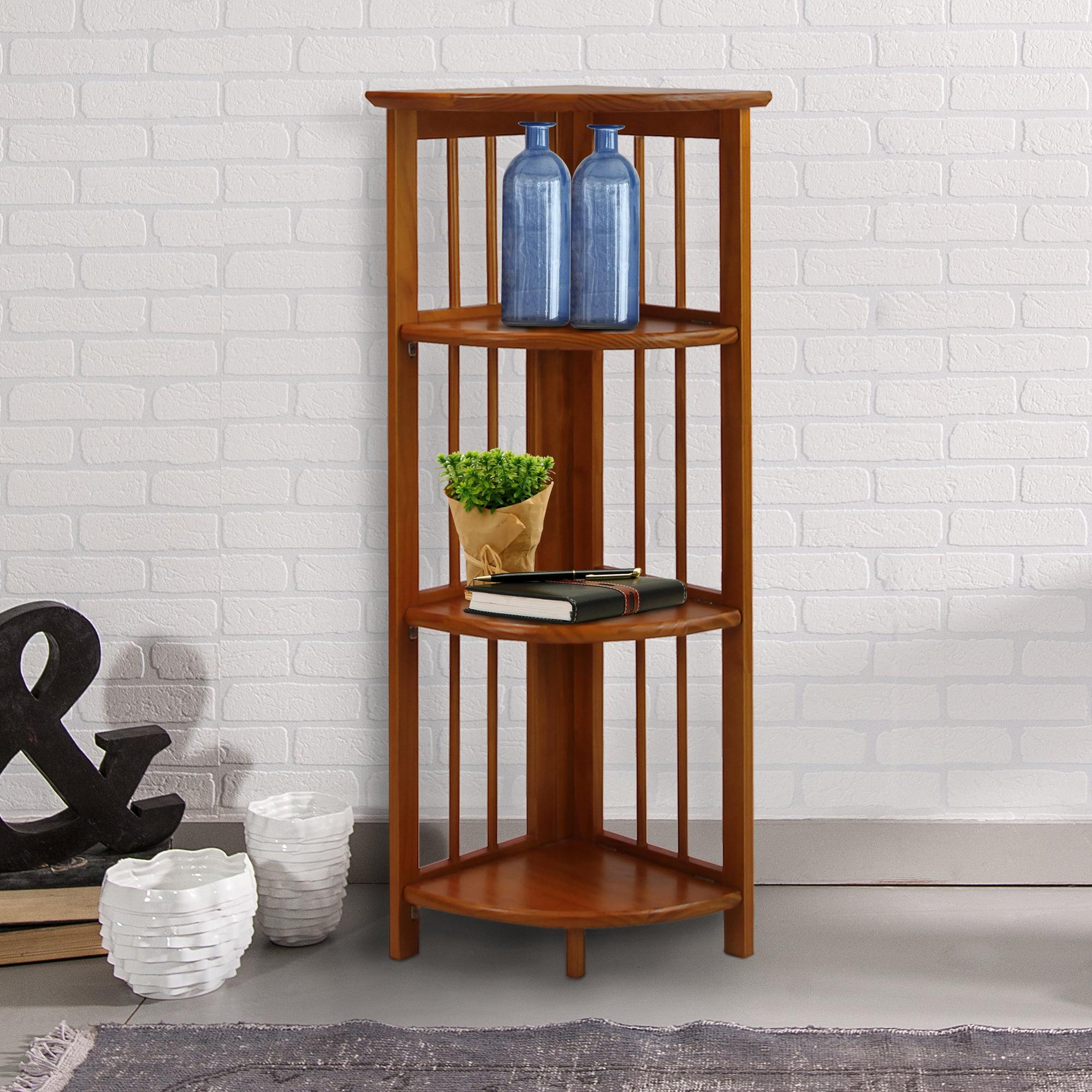 4 Shelf Corner Folding Bookcase Honey Oak Walmart Com