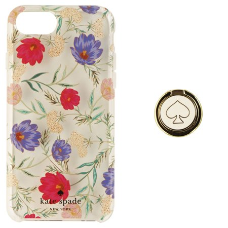 on sale 1d0aa 4acd1 Kate Spade Hybrid Case & Attachable Ring Stand for iPhone 8/7/6s -  Clear/Flowers
