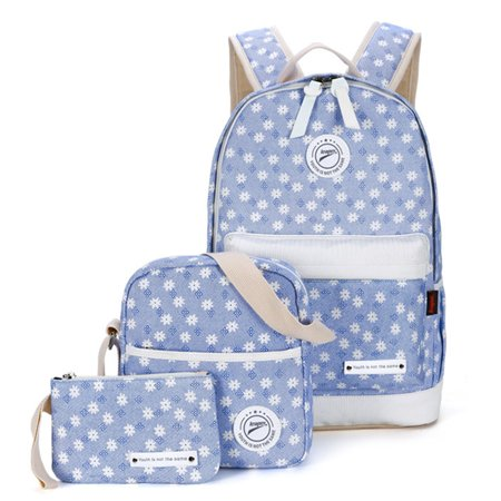 b9526c6f3d Codream - Set 3 Floral Canvas Backpack Casual Bookbags School Backpacks  Bags Shoulder Wallet Bag for Girl (Blue) - Walmart.com