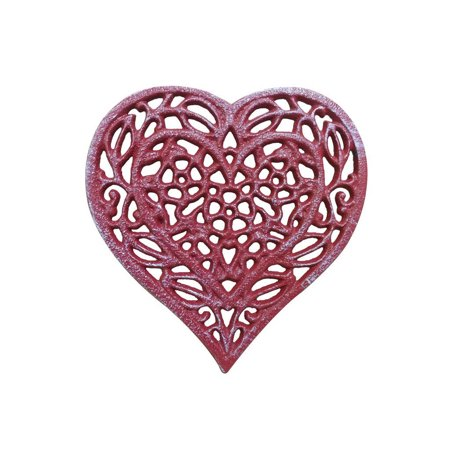 Rustic Red Whitewashed Cast Iron Heart Shaped Trivet 7""