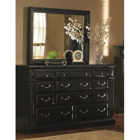 drawer dresser and mirror finish antique black. Black Bedroom Furniture Sets. Home Design Ideas