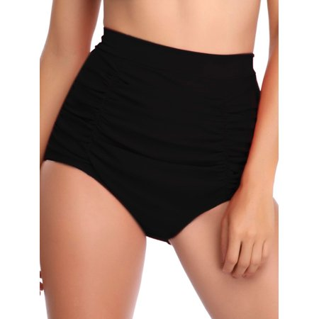 S-XL Women High Waist Ruched Tummy Control Bikini Tankini Bottom Swim Briefs Swimming Pants Shorts Trunks Bathing Suit Swimwear Swimsuit (18 Round Swirl Bottom)