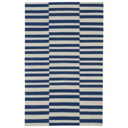 Kaleen Rugs Flatweave TriBeCa Blue Stripes Wool Rug (9' x 12')