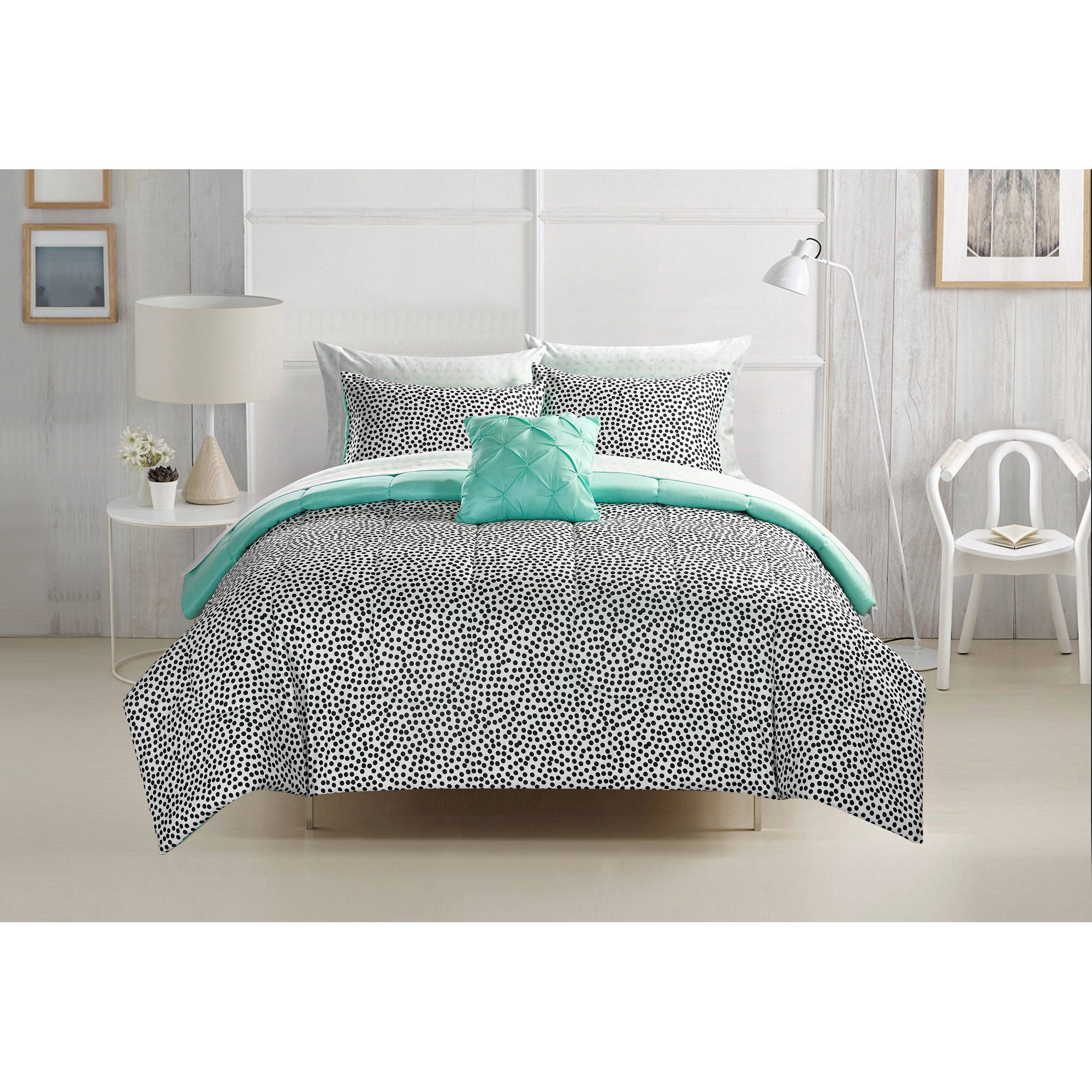 your zone brushstroke dots bed in a bag bedding set