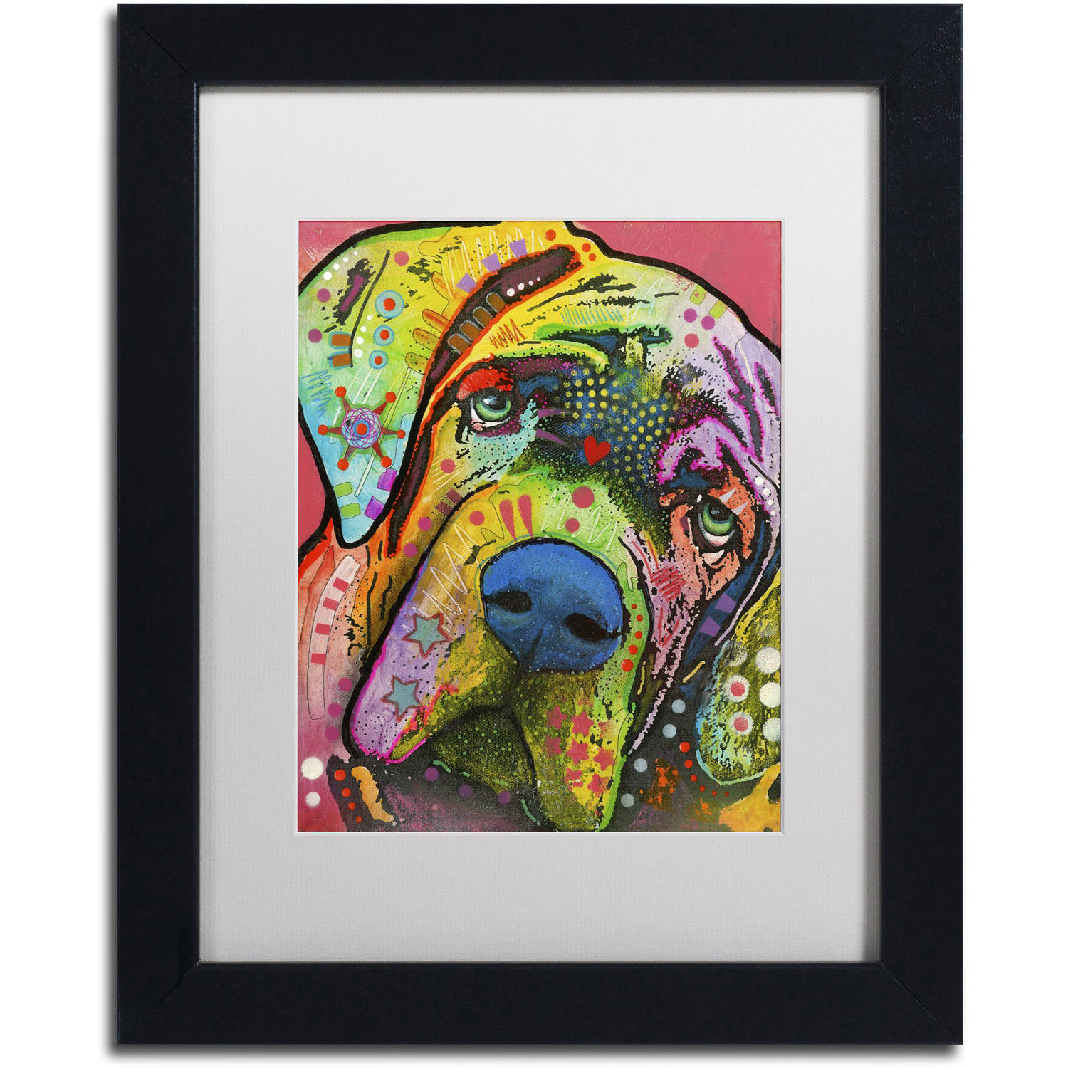 "Trademark Fine Art ""Mastiff"" Canvas Art by Dean Russo, White Matte, Black Frame"
