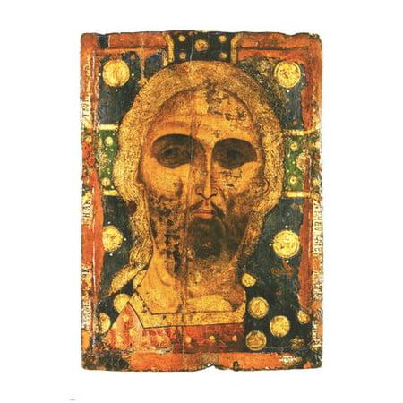 Jesus Christ Icon (Jesus Christ Icon Zlaty Vlasy Uspenskiy 13Th Century Religious Painting Poster)