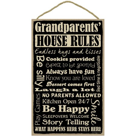GRANDPARENTS' HOUSE RULES Primitive Wood Hanging Sign 10