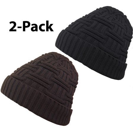 Debra Weitzner Mens Slouchy beanie knit winter hat Warm Wool Fur Skull Cap 2-pack Black & Brown Mens Wool Caps