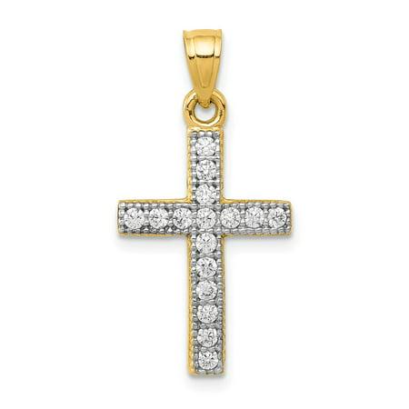 Roy Rose Jewelry 14k Yellow Gold CZ Latin Cross Pendant