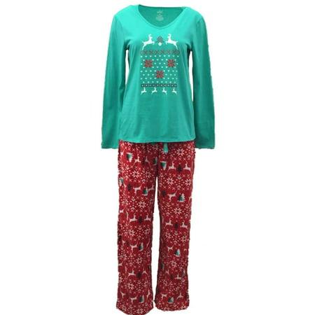 Soft Sensations Womens Nordic Reindeer Pajamas Fleece Sleep Pants T-Shirt Set
