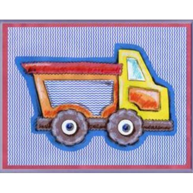 Stupell Industries BRP-1167 Yellow Orange Dump Truck Blue Stripe Rect Wall Plaque - image 1 of 1