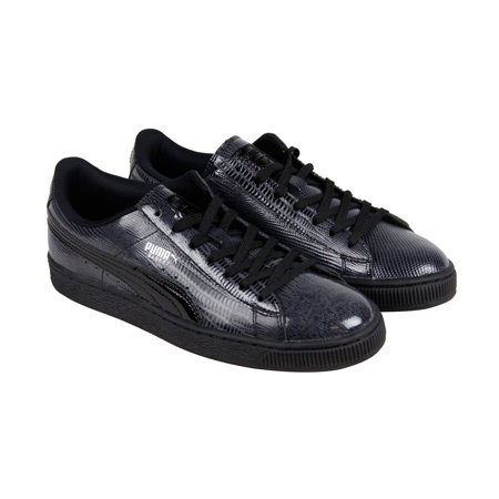 dcad9d1ccb1859 PUMA - Puma Basket Classic Patent Croc Mens Black Leather Lace Up Sneakers  Shoes - Walmart.com