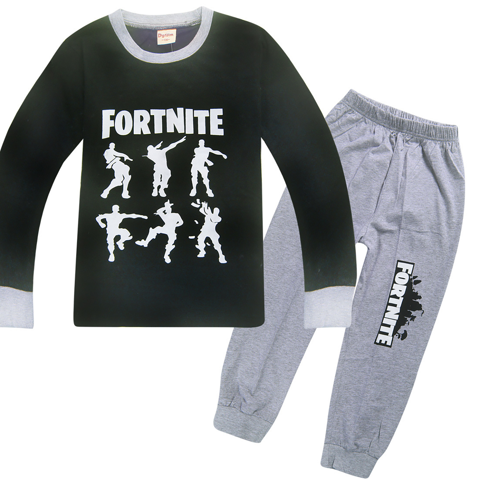 """Boys Children Fortnite Suit """"Dance Dance"""" Graphic Casual Long Sleeve Tee Shirt And Pants"""
