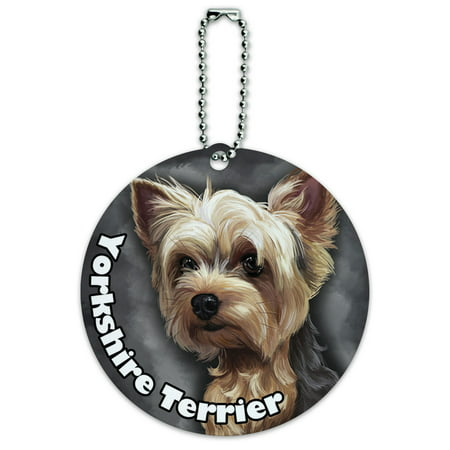 - Yorkshire Terrier Yorkie Dog Pet Round ID Card Luggage Tag