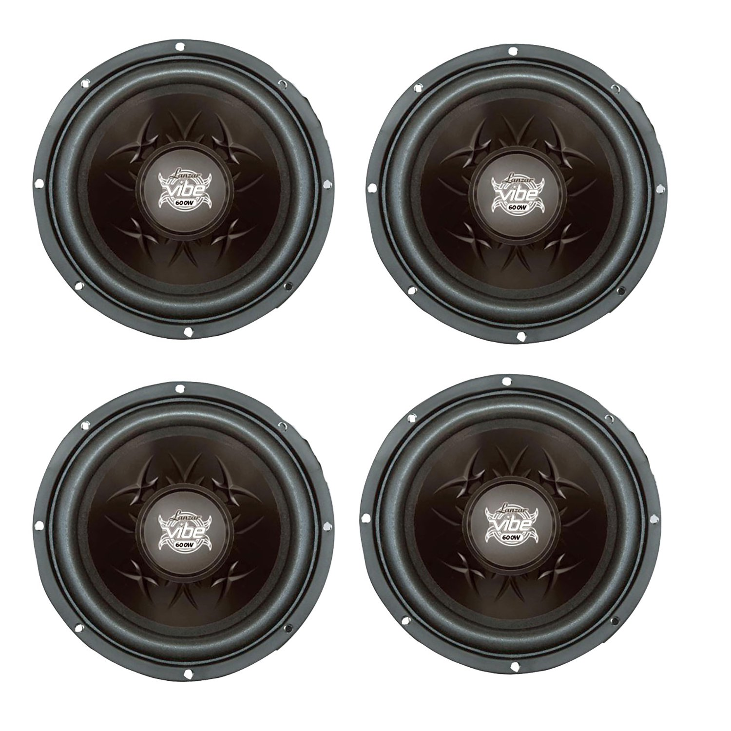 4) Lanzar Vibe 800 Watt 8-Inch 4-Ohm Subwoofers Black Car Audio SVC Subs | VW84 by