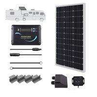 Renogy 100 Watts 12 Volts Monocrystalline Solar RV Kit Off-Grid Kit with 30A PWM LCD Controller + Mounting Brackets + MC4 Connectors + Solar Cables + Cable Entry housing
