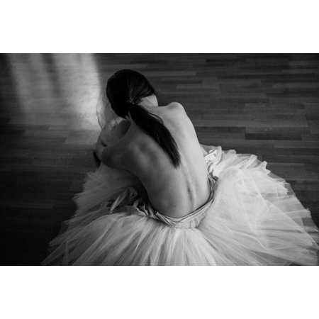 Tired Ballet Dancer Sitting On The Dance Floor Photo Art Print Poster 18X12 Inch