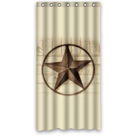 GreenDecor Western Texas Star By Western Texas Star Waterproof Shower Curtain Set with Hooks Bathroom Accessories Size 36x72 inches ()