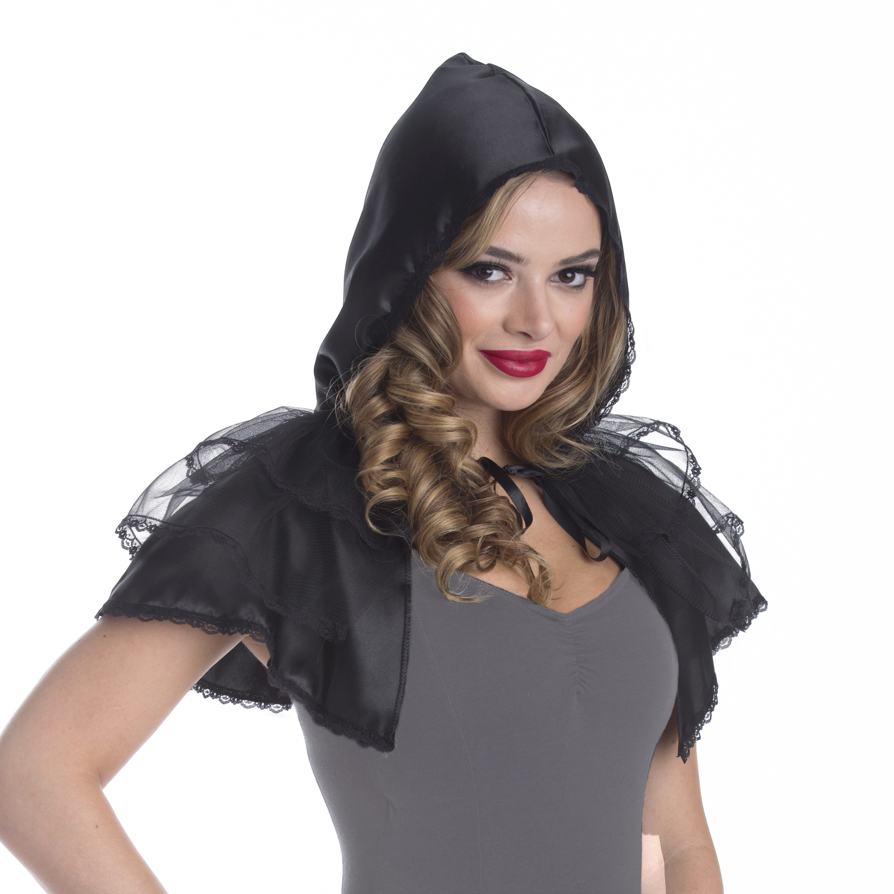 Generic Halloween Woman Black Lace Layered Cape