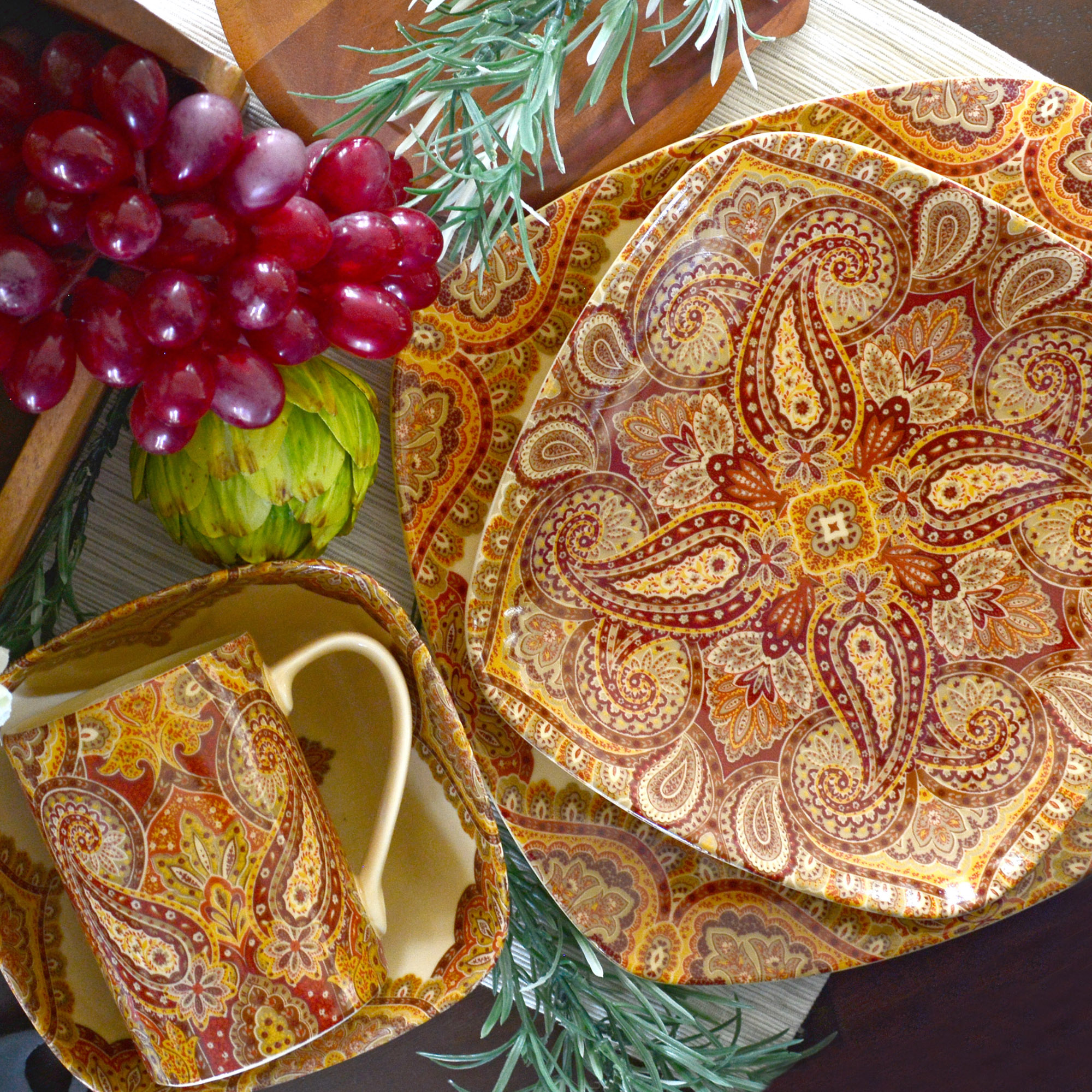 222 Fifth : Spice Road Terracotta 16 Piece Dinnerware Set