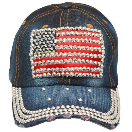 Fashion Hat - Fashion Hat Womens Navy American Flag Rhinestone Patriotic  Denim Cap Hat - Walmart.com ee9ba6b826